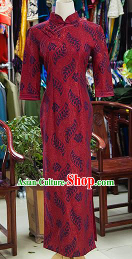 Traditional Ancient Chinese Republic of China Red Cheongsam, Asian Chinese Chirpaur Printing Qipao Dress Clothing for Women