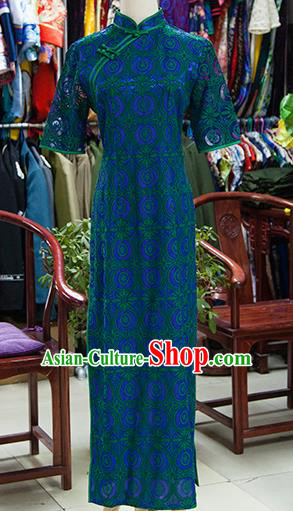 Traditional Ancient Chinese Republic of China Peacock Green Cheongsam, Asian Chinese Chirpaur Printing Qipao Dress Clothing for Women