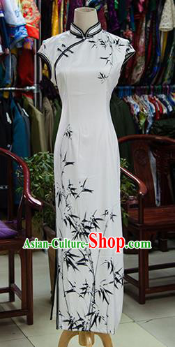 Traditional Ancient Chinese Republic of China White Cheongsam, Asian Chinese Chirpaur Ink Painting Bamboo Qipao Dress Clothing for Women