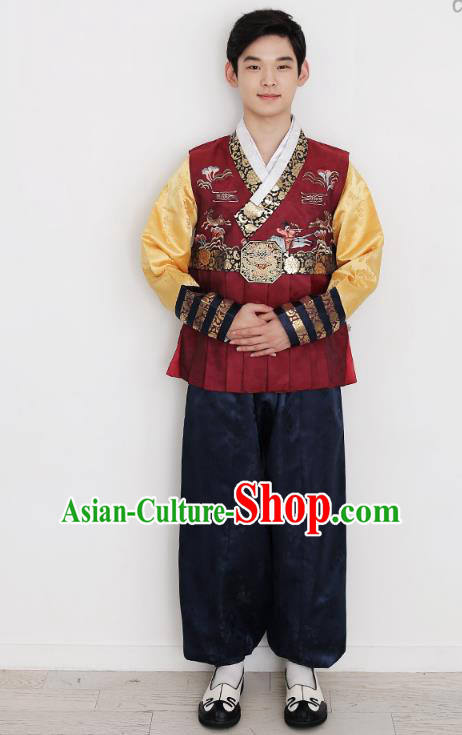 Traditional Korean Costumes Bridegroom Formal Attire Ceremonial Red Clothes, Korea Hanbok Court Embroidered Clothing for Men