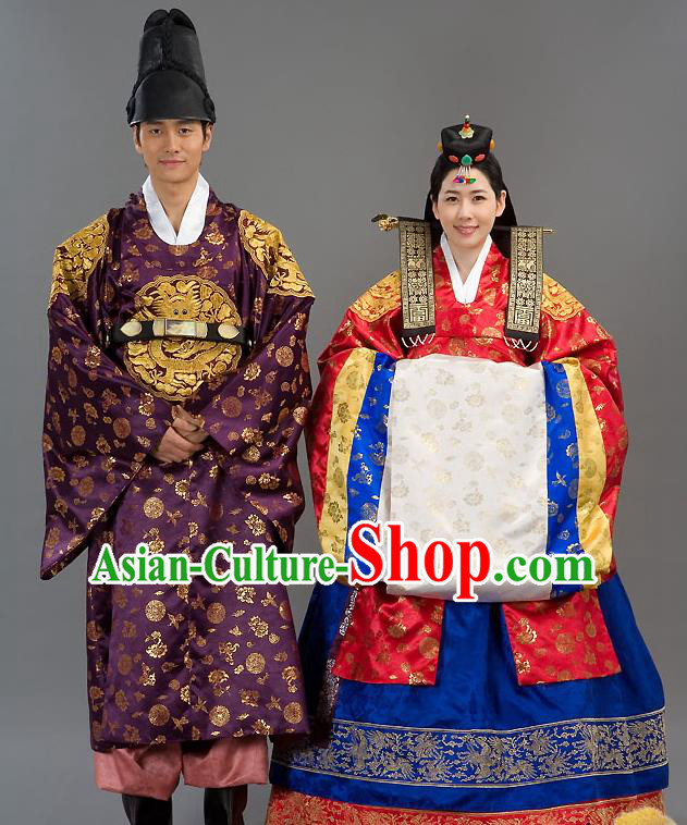 bcb290338 Traditional Korean Costumes Bride and Bridegroom Wedding Clothing Complete  Set, Korea Hanbok Court Embroidered Clothing for Women for Men