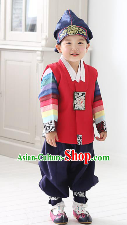 Asian Korean National Traditional Handmade Formal Occasions Boys Embroidery Red Hanbok Costume Complete Set for Kids