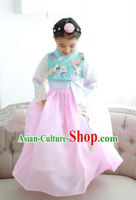 Korean National Handmade Formal Occasions Girls Hanbok Costume Embroidery Green Blouse and Pink Dress for Kids