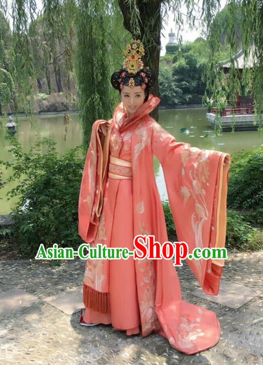 Traditional Chinese Southern and Northern Dynasties Imperial Concubine Queen Costume and Headpiece Complete Set