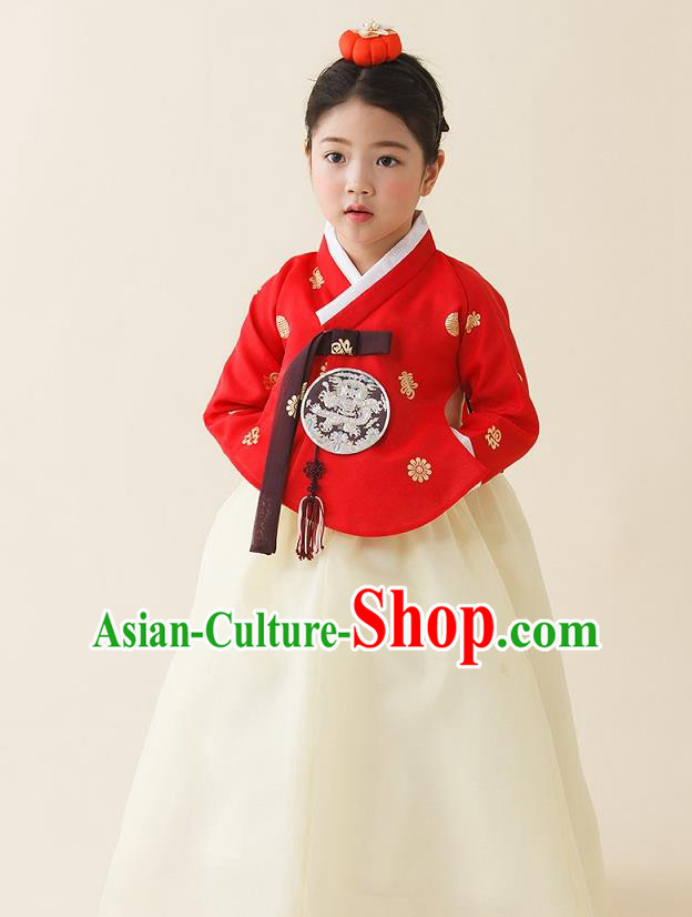 Asian Korean National Handmade Formal Occasions Clothing Embroidered Red Blouse and White Dress Palace Hanbok Costume for Kids