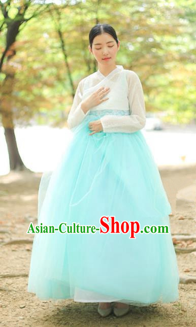 Korean National Handmade Formal Occasions Bride Clothing Hanbok Costume White Blouse and Blue Dress for Women