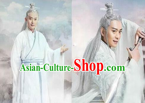 Chinese Ancient Opera Old Men Wig, Traditional Chinese Beijing Opera Taoist Priest White Wig Sheath for Men