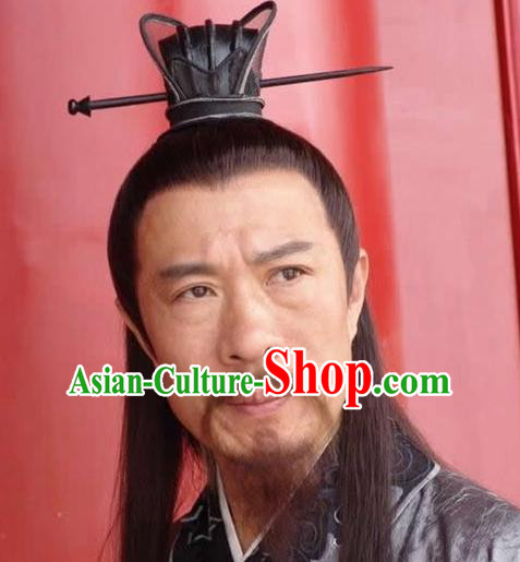 Chinese Ancient Opera Han Dynasty Chancellor Wig, Traditional Chinese Beijing Opera Old Men Wig Sheath for Men