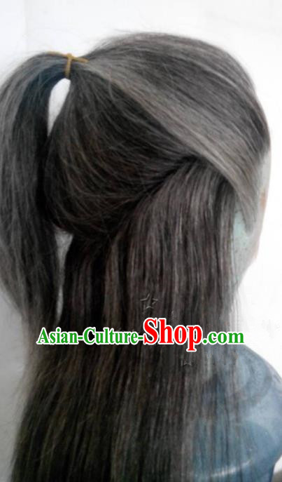 Chinese Ancient Opera Swordsman Old Men Wig, Traditional Chinese Beijing Opera Taoist Priest Wig Sheath for Men