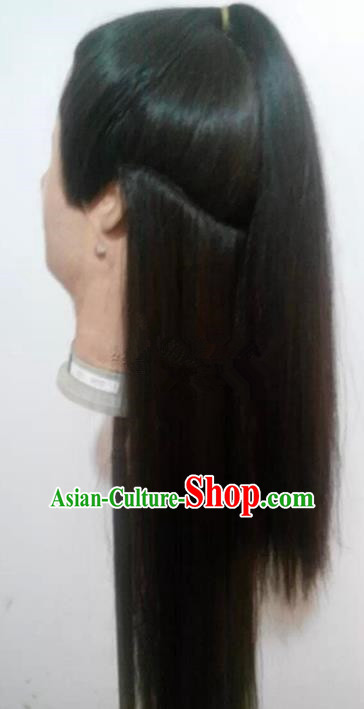 Chinese Ancient Opera Swordsman Young Men Wig, Traditional Chinese Beijing Opera Taoist Priest Wig Sheath for Men