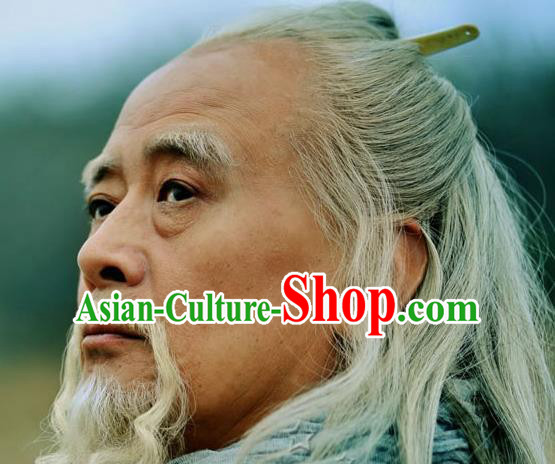 Chinese Ancient Opera Han Dynasty Chancellor White Wig Beard Eyebrows, Traditional Chinese Beijing Opera Old Men Wig Sheath for Men