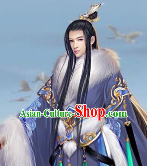 Chinese Ancient Opera Swordsman Young Men Black Wig, Traditional Chinese Beijing Opera Prince Wig Sheath for Men