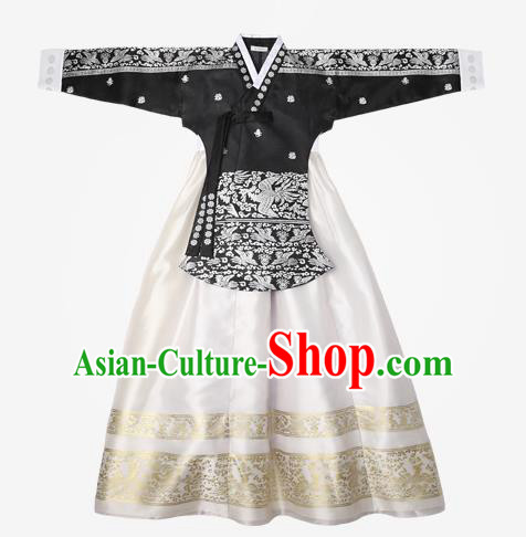 Top Grade Korean National Handmade Wedding Clothing Palace Bride Hanbok Costume Embroidered Black Blouse and White Dress for Women