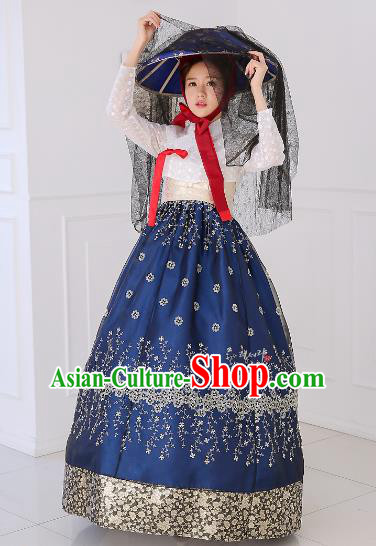 Top Grade Korean National Handmade Wedding Clothing Palace Bride Hanbok Costume Embroidered White Blouse and Blue Dress for Women