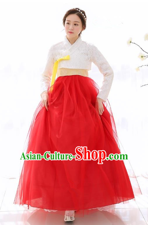 Top Grade Korean National Handmade Wedding Clothing Palace Bride Hanbok Costume Embroidered White Blouse and Red Dress for Women