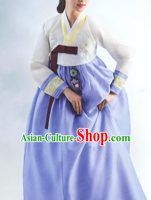 Top Grade Korean National Handmade Wedding Palace Bride Hanbok Costume Embroidered White Blouse and Blue Dress for Women