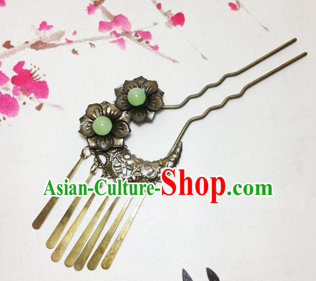 Traditional Chinese Ancient Classical Hair Accessories Bronze Hair Clip Bride Tassel Step Shake Hairpins for Women
