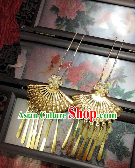 Traditional Chinese Ancient Classical Hair Accessories Tassel Golden Hair Clip Bride Step Shake Hairpins for Women
