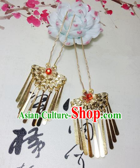 Traditional Chinese Ancient Classical Hair Accessories Golden Hair Stick Bride Tassel Step Shake Hairpins for Women