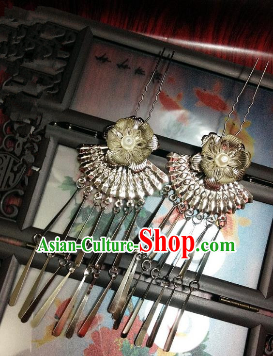 Traditional Chinese Ancient Classical Hair Accessories Flower Hair Clip Bride Tassel Step Shake Hairpins for Women