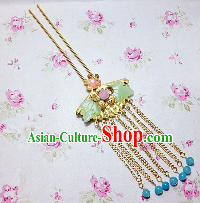 Traditional Chinese Ancient Classical Hair Accessories Hanfu Hair Clip Tassel Step Shake Bride Hairpins for Women
