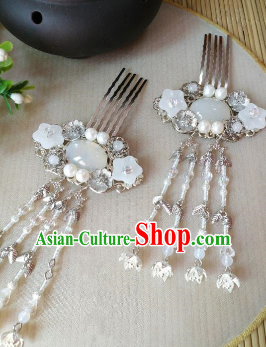 Traditional Chinese Ancient Classical Hair Accessories Hanfu Agate Hair Clip Tassel Step Shake Hairpins for Women