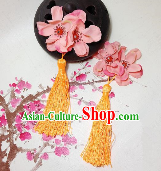 Traditional Chinese Ancient Classical Hair Accessories Hanfu Blue Flowers Hair Comb Bride Hairpins for Women