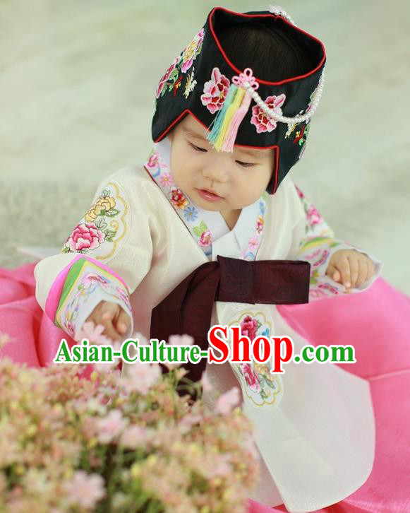 Traditional Korean Handmade Court Hanbok Embroidered Clothing, Asian Korean Apparel Hanbok Embroidery Princess Costume for Kids