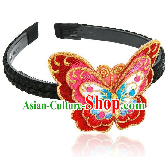 Traditional Korean Hair Accessories Embroidered Red Butterfly Hair Clasp, Asian Korean Fashion Wedding Headwear for Kids