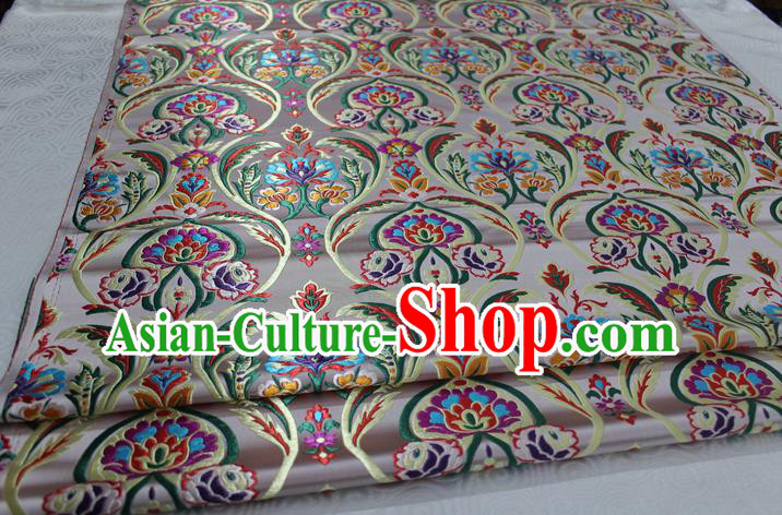 Chinese Traditional Royal Palace Flowers Pattern Beige Nanjing Brocade Mongolian Robe Fabric, Chinese Ancient Costume Satin Hanfu Tang Suit Material