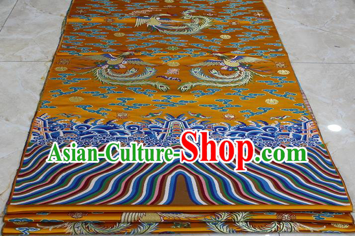 Chinese Traditional Ancient Costume Palace Phoenix Pattern Mongolian Robe Golden Brocade Tang Suit Fabric Hanfu Material