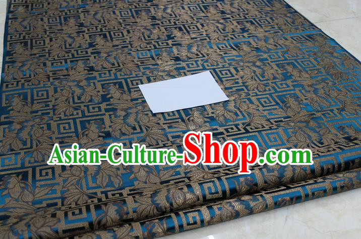 Chinese Traditional Ancient Costume Palace Leaf Pattern Cheongsam Mongolian Robe Peacock Blue Brocade Tang Suit Fabric Hanfu Material