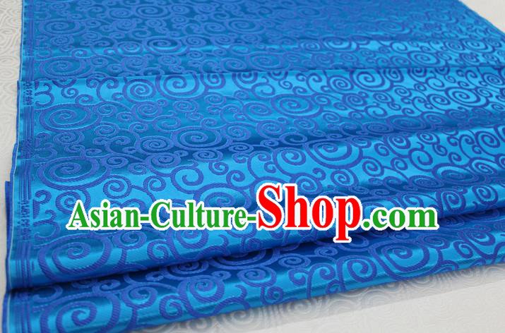 Chinese Traditional Ancient Costume Palace Clouds Pattern Blue Brocade Cheongsam Satin Mongolian Robe Fabric Hanfu Material