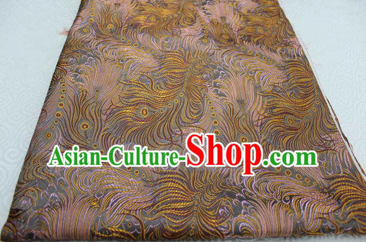 Chinese Traditional Ancient Costume Palace Feather Pattern Tang Suit Yellow Brocade Cheongsam Satin Fabric Hanfu Material