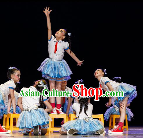 Traditional Chinese Classic Stage Performance Ballet Dance Costume, Chinese Modern Dance Dress Clothing for Kids