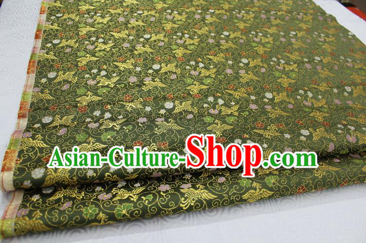 Chinese Traditional Ancient Costume Palace Phoenix Pattern Cheongsam Green Brocade Xiuhe Suit Satin Fabric Hanfu Material