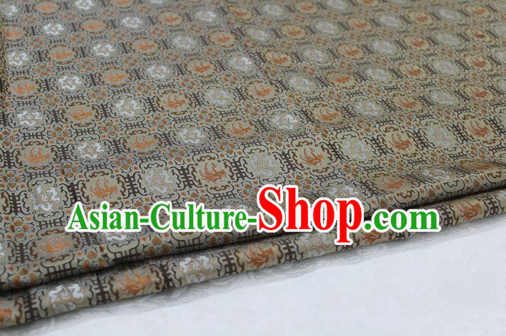 Chinese Traditional Ancient Costume Palace Phoenix Pattern Mongolian Robe Brocade Tang Suit Satin Fabric Hanfu Material