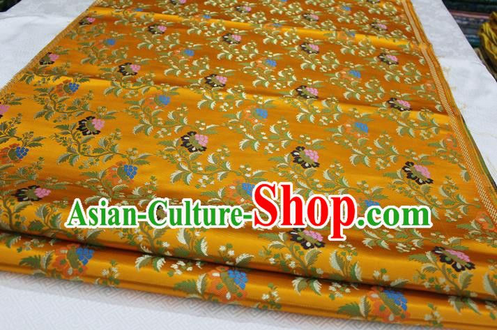 Chinese Traditional Ancient Costume Palace Grape Pattern Cheongsam Yellow Brocade Tang Suit Satin Fabric Hanfu Material
