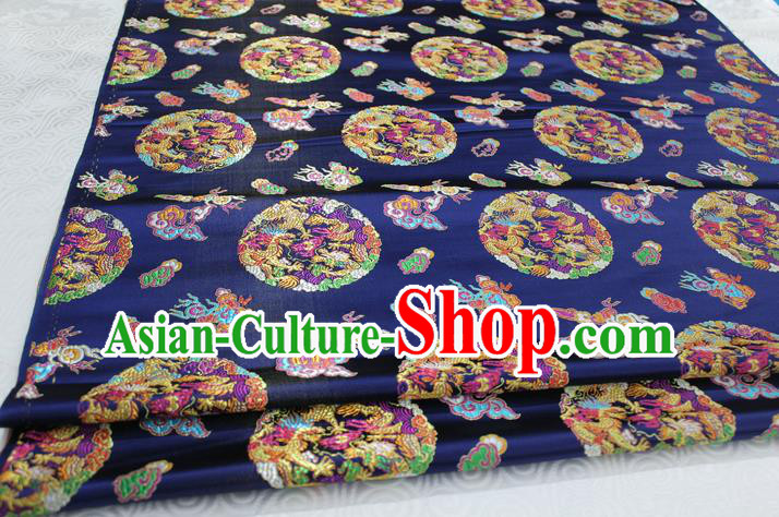 Chinese Traditional Ancient Costume Palace Dragons Pattern Mongolian Robe Brocade Tang Suit Satin Fabric Hanfu Material