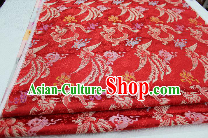 Chinese Traditional Ancient Wedding Costume Xiuhe Suit Red Brocade Palace Phoenix Pattern Satin Fabric Hanfu Material