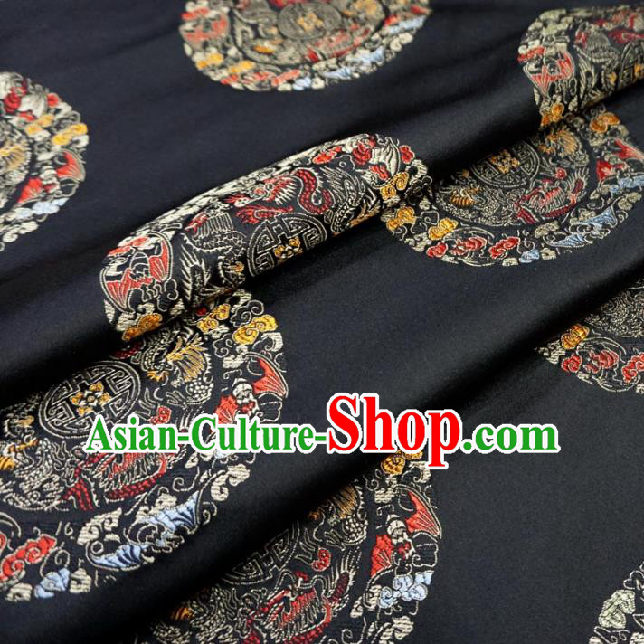 Chinese Traditional Royal Court Dragons Pattern Black Brocade Fabric Ancient Costume Tang Suit Cheongsam Hanfu Material