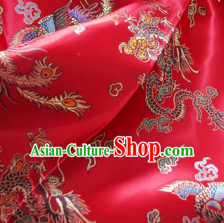 Chinese Traditional Royal Palace Dragon Phoenix Pattern Design Red Brocade Xiuhe Suit Fabric Ancient Costume Tang Suit Cheongsam Hanfu Material