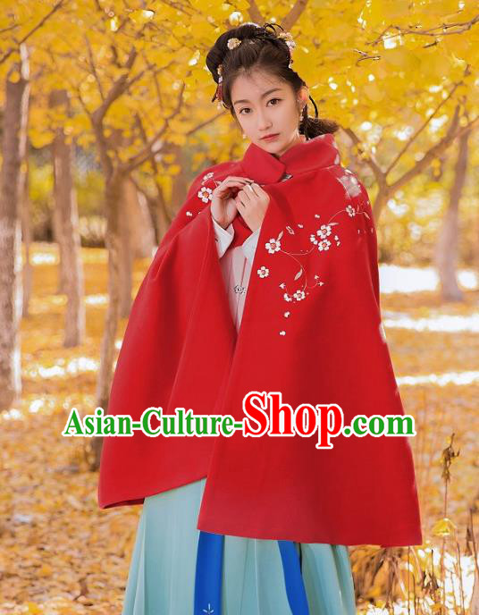 Traditional Chinese Ming Dynasty Young Lady Hanfu Costume Embroidered Red Short Cloak for Women
