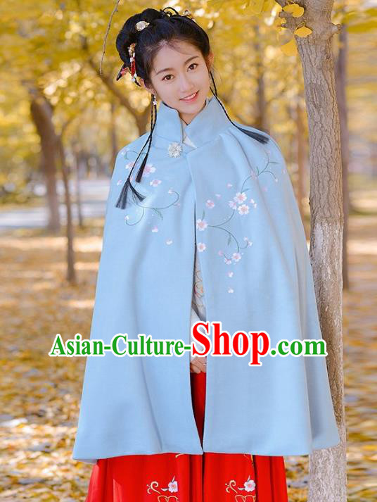 Traditional Chinese Ming Dynasty Young Lady Hanfu Costume Embroidered Blue Short Cloak for Women