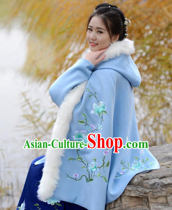 Traditional Chinese Ming Dynasty Young Lady Hanfu Costume Embroidered Blue Short Hooded Cloak for Women
