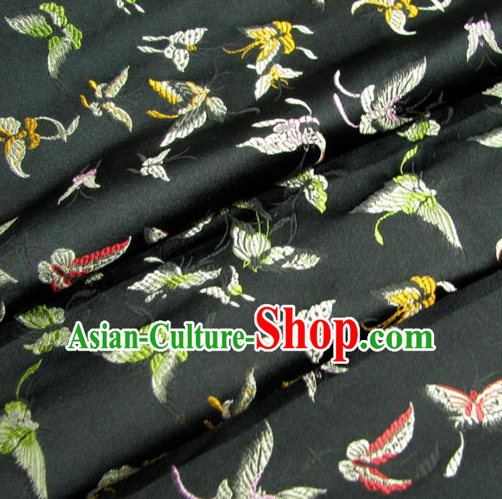 Chinese Traditional Palace Butterfly Pattern Design Hanfu Black Brocade Fabric Ancient Costume Tang Suit Cheongsam Material