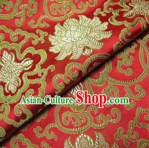 Chinese Traditional Palace Lotus Pattern Design Hanfu Red Brocade Fabric Ancient Costume Tang Suit Cheongsam Material