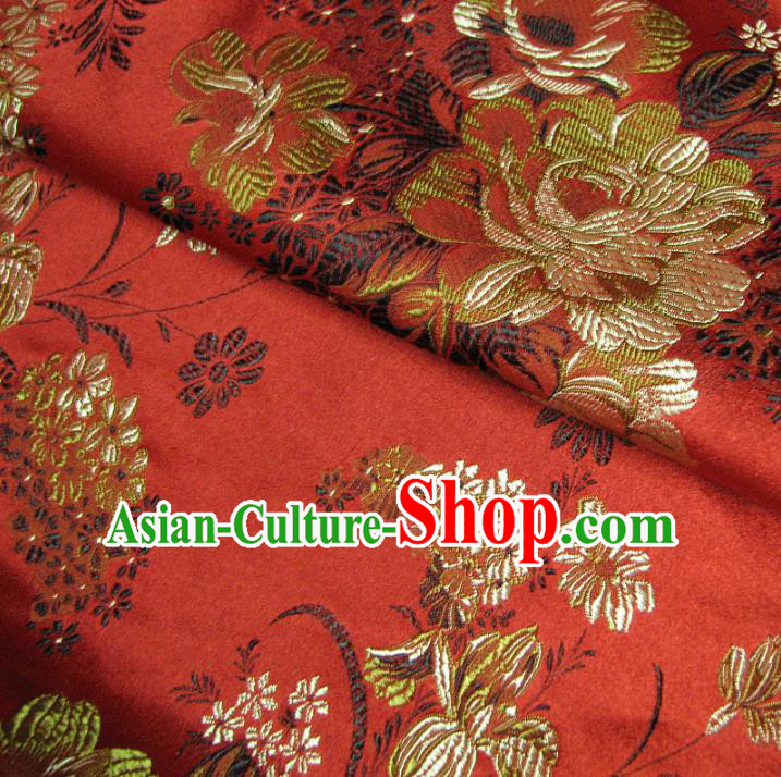 Chinese Traditional Palace Pattern Design Hanfu Red Brocade Fabric Ancient Costume Tang Suit Cheongsam Material