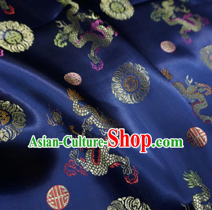 Chinese Traditional Palace Dragons Pattern Design Hanfu Navy Brocade Fabric Ancient Costume Tang Suit Cheongsam Material