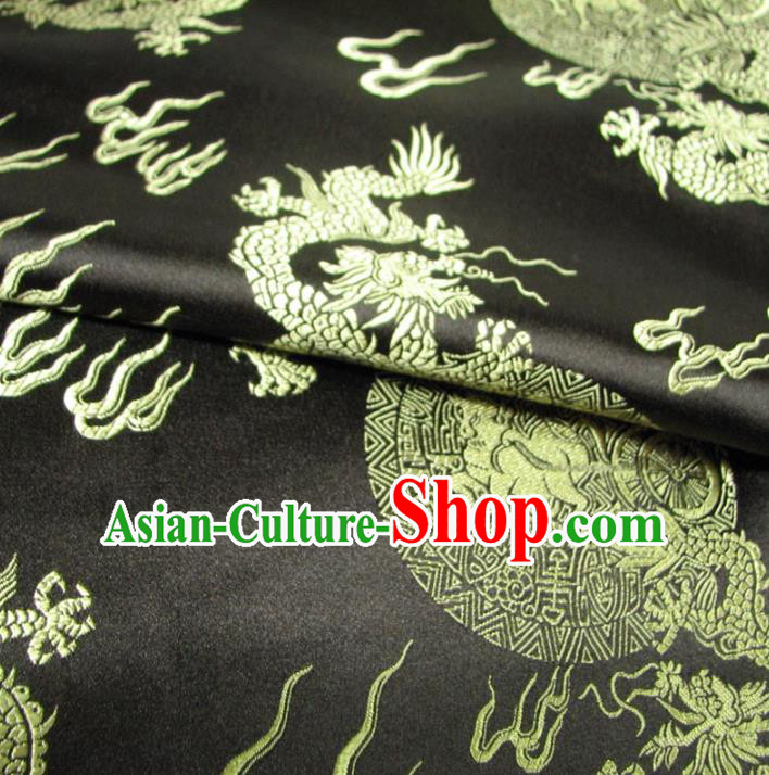 Chinese Traditional Palace Dragons Pattern Design Hanfu Black Brocade Fabric Ancient Costume Tang Suit Cheongsam Material